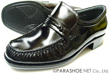 MR.BROWN(MoonStar)本革 モカスリッポン ビジネスシューズ 黒 ワイズ4E(EEEE)23cm(23.0cm)、23.5cm、24cm(24.0cm)【小さいサイズ(スモールサイズ)メンズ革靴・紳士靴】