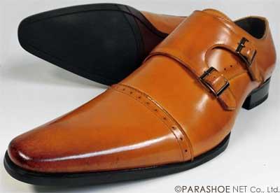 S-MAKE(エスメイク)本革 ダブルモンクストラップ ビジネスシューズ 茶色(ライトブラウン)ワイズ(足幅)/3E(EEE) 23cm(23.0cm)、23.5cm、24cm(24.0cm) 【小さいサイズ(スモールサイズ)革靴・紳士靴】