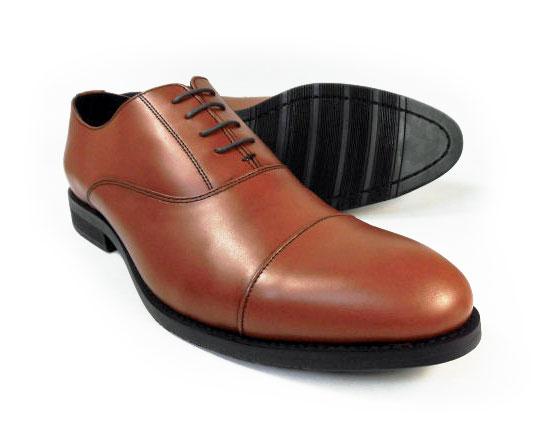 PARASHOE 本革 内羽根ストレートチップ(キャップトゥ)ビジネスシューズ 茶色(ブラウン)ワイズ3E(EEE)【マッケイ製法・メンズ革靴・紳士靴】