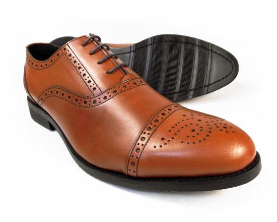 PARASHOE 本革 内羽根セミブローグ ビジネスシューズ 茶色(ブラウン)ワイズ3E(EEE)【マッケイ製法・メンズ革靴・紳士靴】