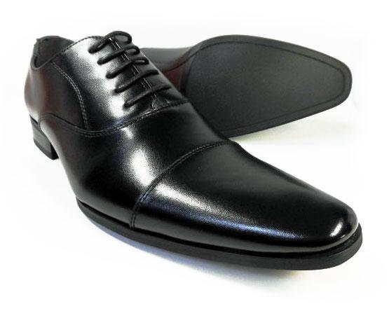 PARASHOE 本革 内羽根ストレートチップ(キャップトゥ) ビジネスシューズ 黒 ワイズ(足幅)3E(EEE)27.5cm、28cm(28.0cm)、29cm(29.0cm)、30cm(30.0cm)、31cm(31.0cm)【大きいサイズ(ビッグサイズ)メンズ革靴・紳士靴】