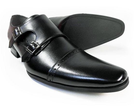 PARASHOE 本革 ダブルモンクストラップ ビジネスシューズ 黒 ワイズ(足幅)3E(EEE)27.5cm、28cm(28.0cm)、29cm(29.0cm)、30cm(30.0cm)、31cm(31.0cm)【大きいサイズ(ビッグサイズ)メンズ革靴・紳士靴】
