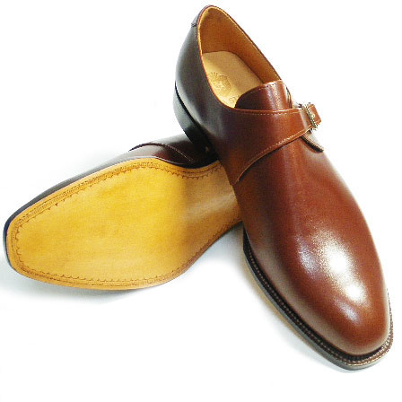 PARASHOEハンドメイド(九分仕立て)本革底 プレーンモンクストラップ ビジネスシューズ アノネイ茶色 ワイズ2E(EE) 22cm~28cm/ハンドソーンウェルト製法・日本製・革靴・紳士靴