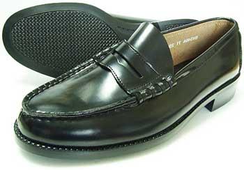 BRAVAS 本革 コインローファー 黒 3E(EEE)/メンズ・革靴・紳士靴・学生靴・通学靴