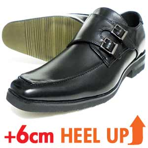 xiealto ダブルモンクストラップ シークレットヒールアップ ビジネスシューズ 黒[メンズ・革靴・紳士靴]