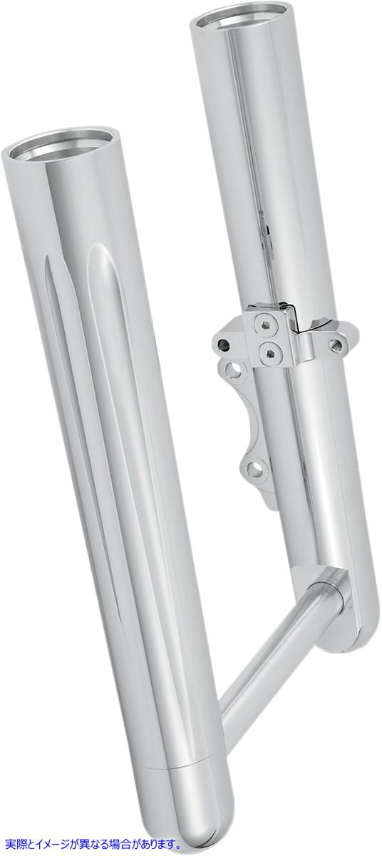 【取寄せ】 アレンネス 06-512 ARLEN NESS Hot Legs Fork Legs - Dual Disc - Deep Cut - Chrome - '00-'07 FLT ホットレッグス DPCT 2000