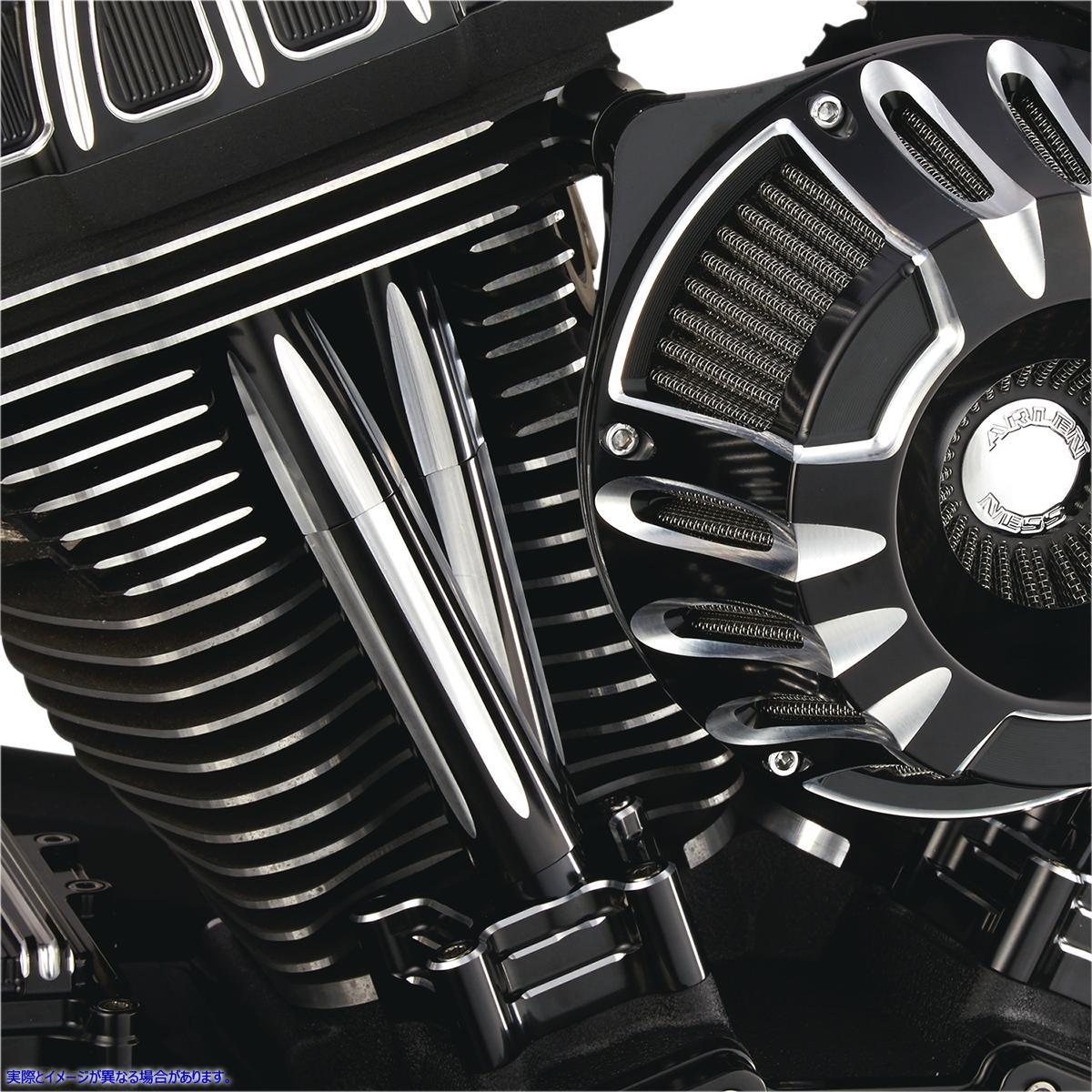 【取寄せ】 アレンネス 03-631 ARLEN NESS Deep Cut Pushrod Covers - Black 09280087 ( 0928-0087 ドラッグスペシャリティーズ DRAG SPEC
