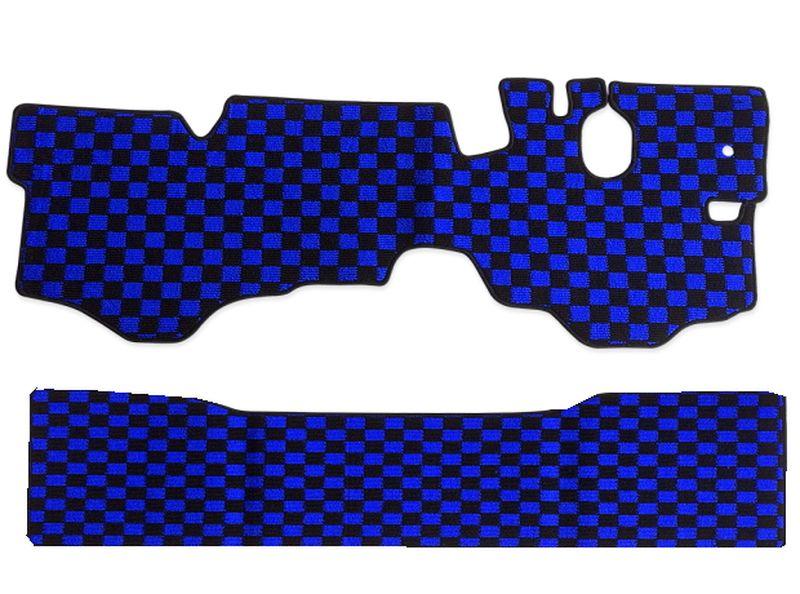内装パーツ マツダ タイタン ダッシュ H12年-H22年 標準 ダブルキャブ フロアマット 贈与 チェック 青x黒 ブラック 大特価!! リア ブルー PA-TFM1920-BL x F
