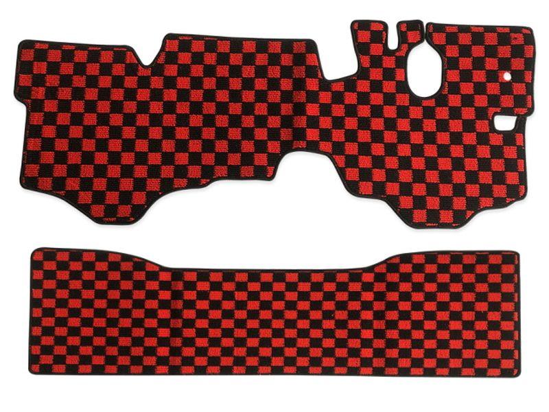 内装パーツ マツダ タイタン ダッシュ H12年-H22年 標準 ダブルキャブ フロアマット リア F 赤x黒 日本製 x ブラック チェック モデル着用 注目アイテム レッド PA-TFM1920-RD