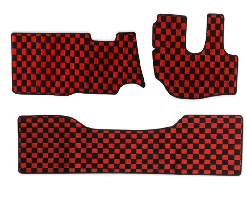 内装パーツ デュトロ ダイナ 最新 トヨエース H11年5月- 人気の製品 標準 ダブルキャブ フロアマット x リア チェック 赤x黒 フロント ブラック レッド PA-TFM2122-RD
