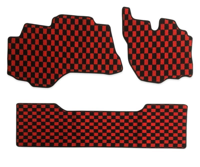 内装パーツ 三菱 ふそう ブルーテック キャンター H22年12月- 標準 ダブルキャブ チープ フロアマット 営業 ブラック レッド F x チェック 赤x黒 R PA-TFM2425-RD