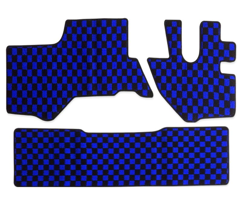 内装パーツ 07エルフ 即納最大半額 日本未発売 タイタン アトラス コンドル 標準 ダブルキャブ フロアマット リア ブルー 青x黒 x チェック PA-TFM2627-BL フロント ブラック