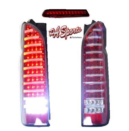 ハイエース 200系 テールランプ LED赤色チューブ&ハイマウントランプ 1年保証付