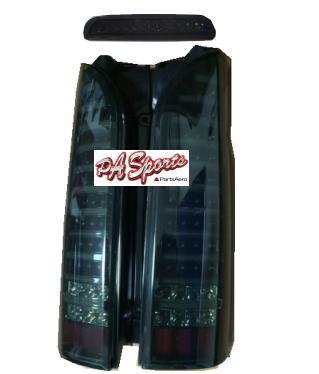 200系ハイエースLEDスモーク黒チューブテールランプ&ハイマウントLED1年保証付