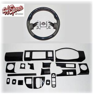 エブリイ ワゴン DA64 インテリアパネル &スポーツガングリップステアリング 2点 セット シルクウッド