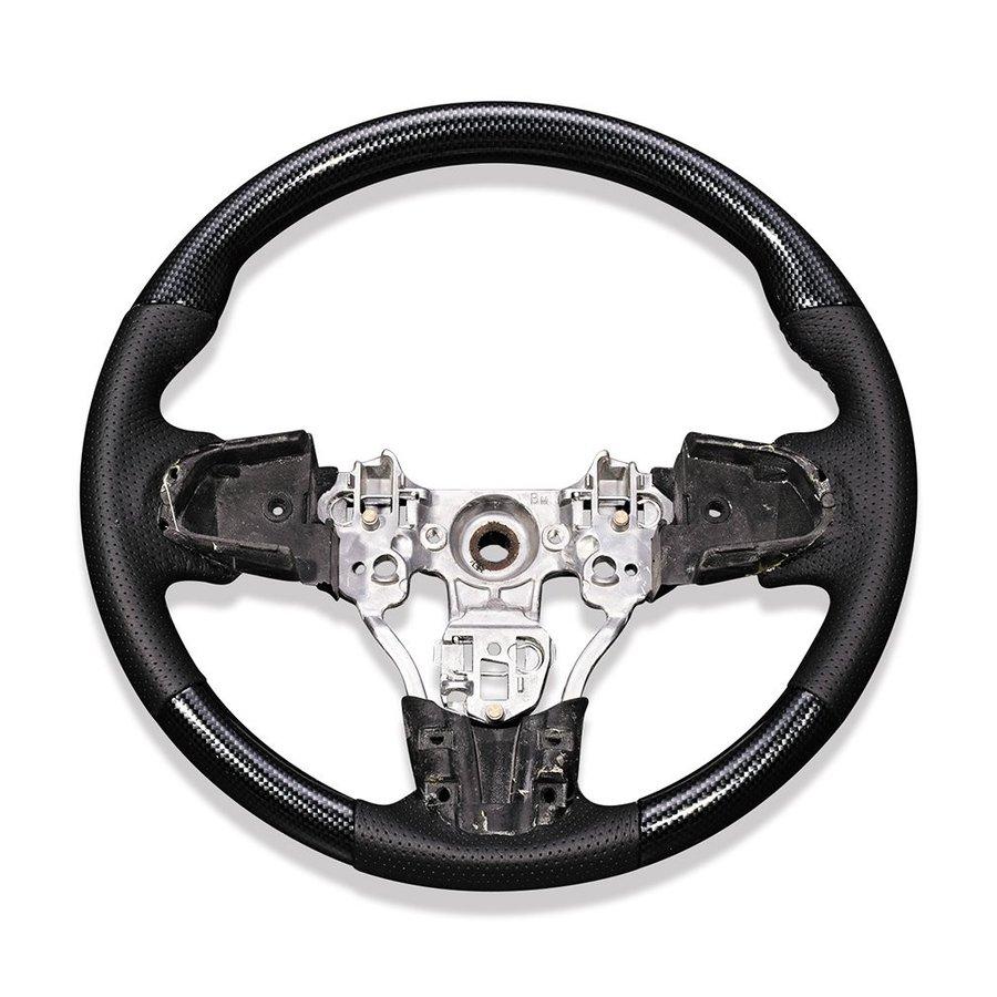 ステアリング タント LA600 LA610 タントカスタム ダイハツ スタンダード カーボン調 黒革 ZERO