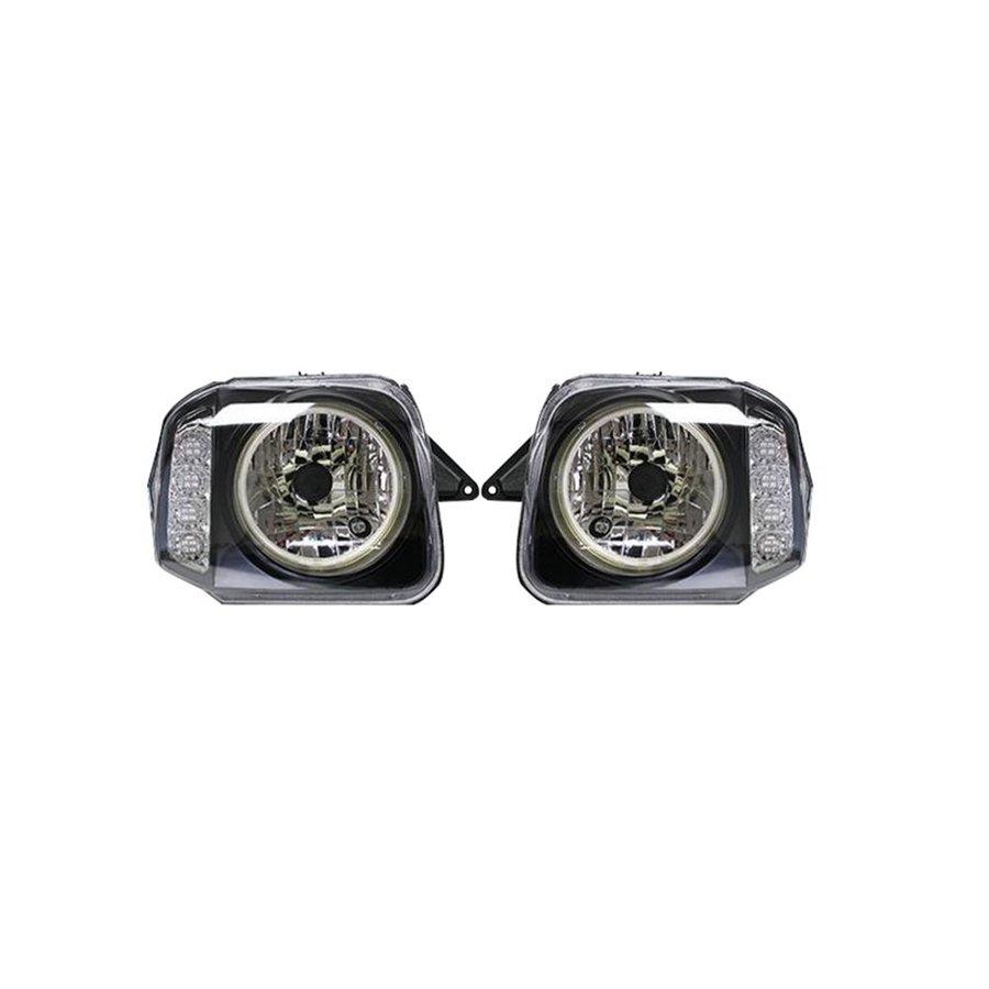 ヘッドライト JB23 ジムニー CCFLリング付 LEDウィンカー インナーブラック 左右セット ZERO-003LR