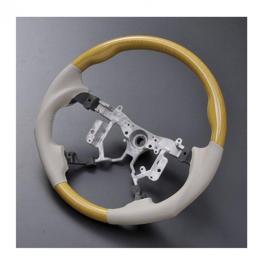 ウッド調 ステアリング エスティマ50系 ガングリップタイプ 黄木目 アイボリー ST020 ZERO