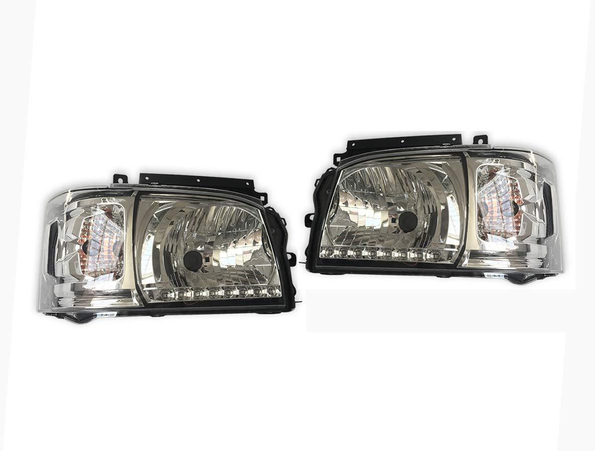 200系 ハイエース 1型,2型 ホワイト 8発 LED ライン付き クリア ヘッド ライト 新品 ZERO-F0117RL