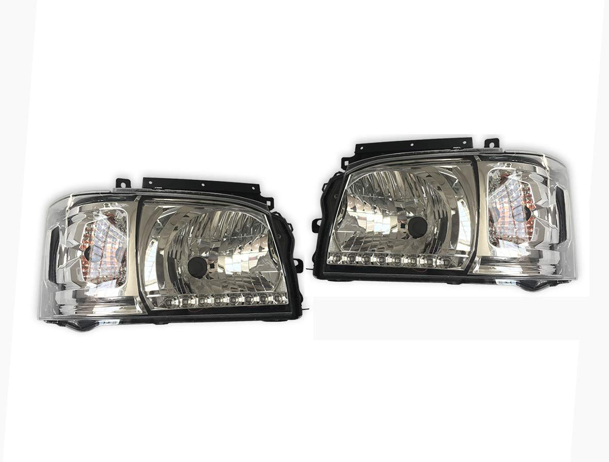200系 ハイエース 1型,2型 オレンジ 8発 LED ライン付き クリア ヘッド ライト 新品 ZERO-F0118RL