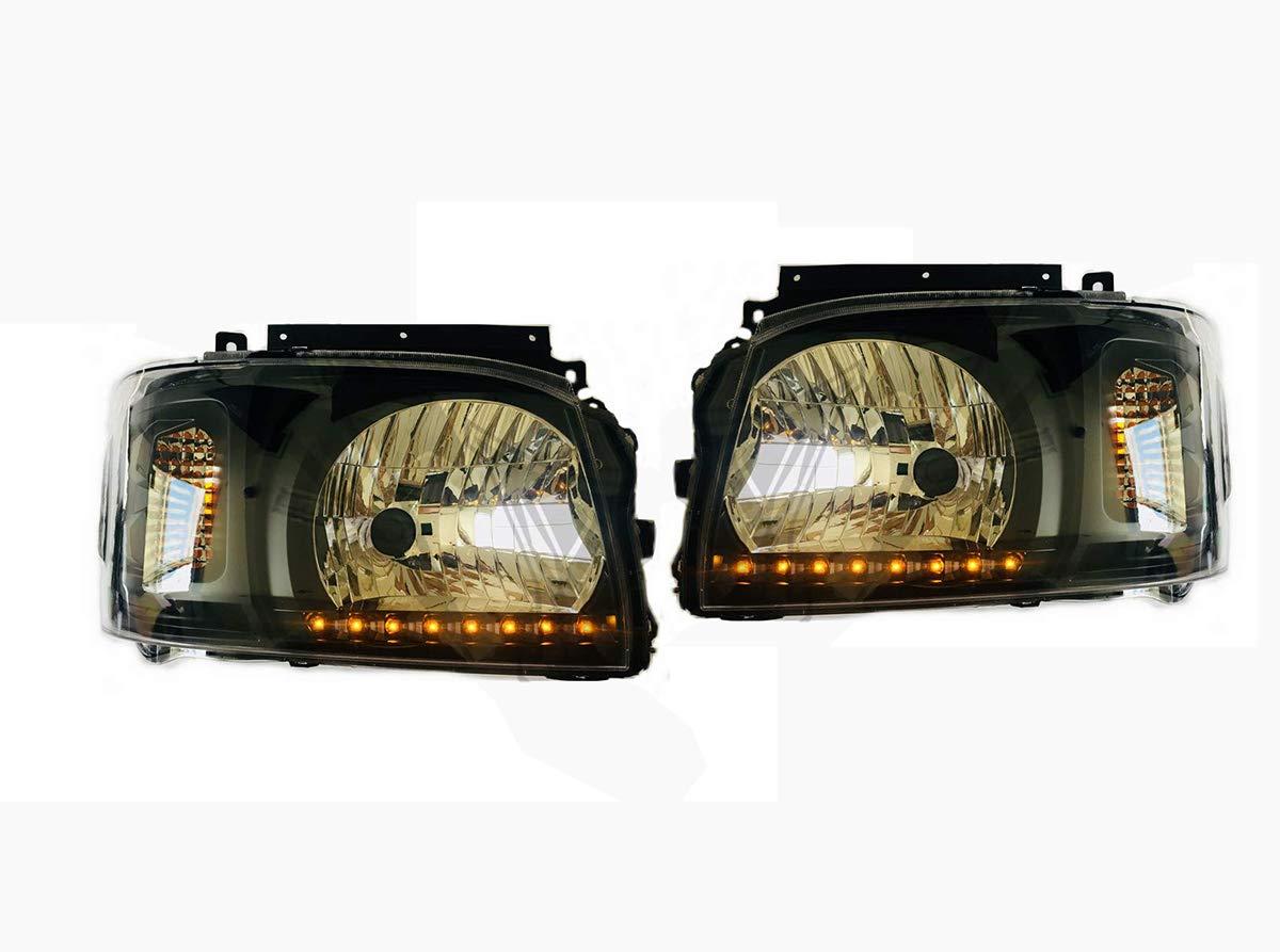 200系 ハイエース 1型,2型 オレンジ 8発 LED ライン付き ブラック ヘッド ライト 新品 ZERO-F0120RL