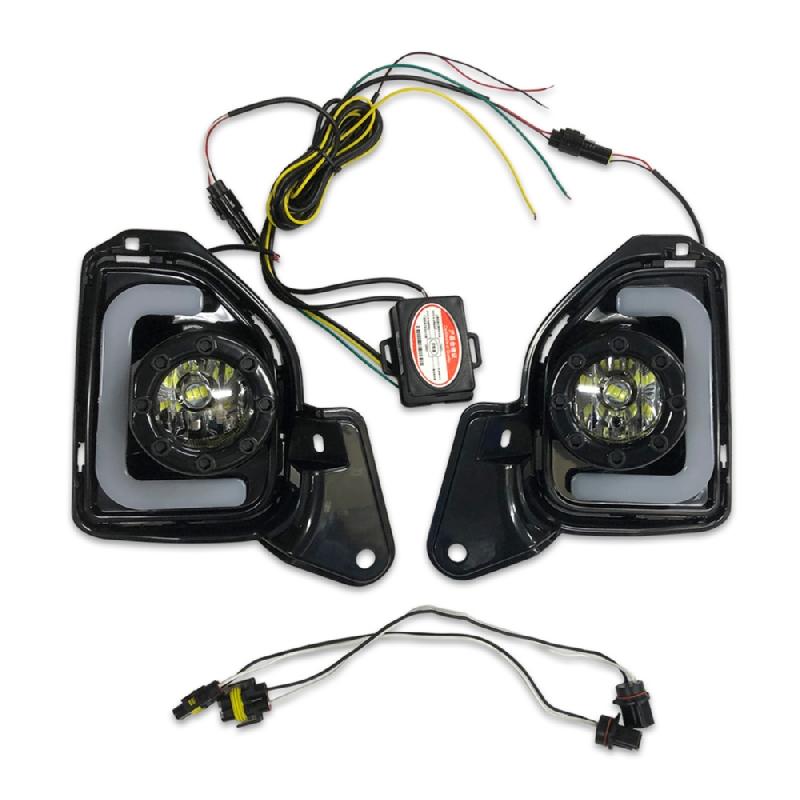 200系 ハイエース 4型 5型 DX GL 標準 ワイド LED ファイバー フォグ ランプ H11 8000K デイライト ウィンカー 連動 左右セット ハーネス付き 新品