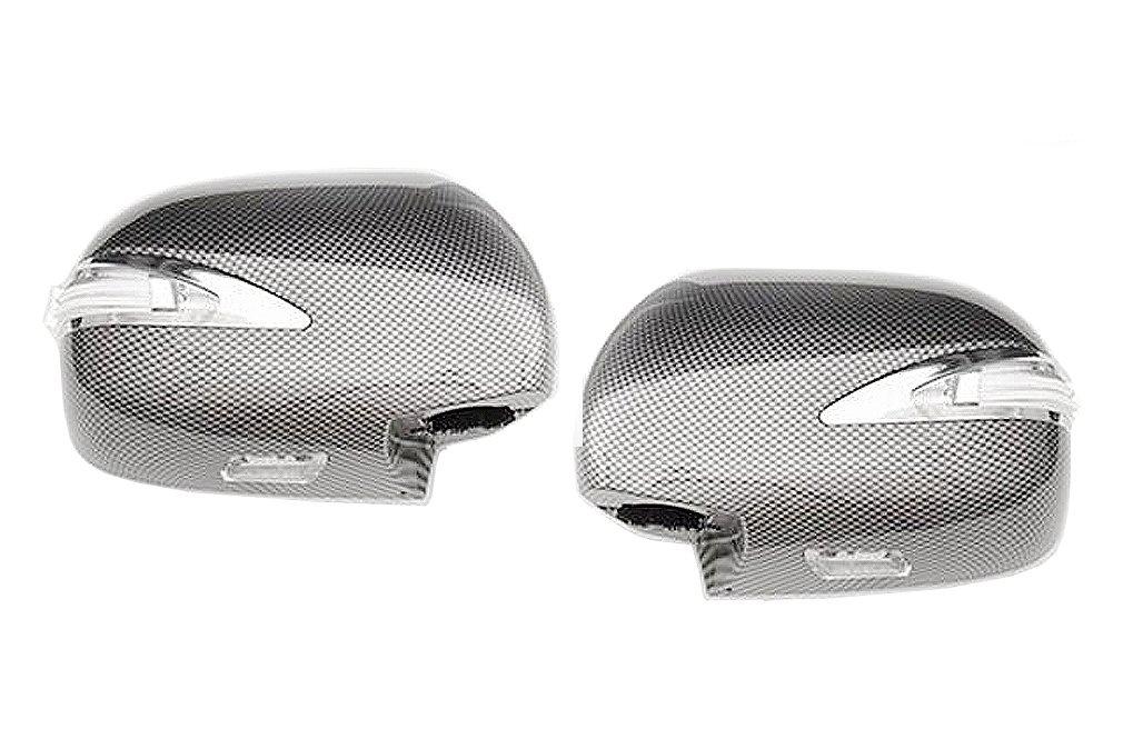 ドアミラーカバー ハイエース200系 1-5型 レジアスエース 交換タイプ LED ファイバー カーボン調 HIACE 2P AP-F014LR
