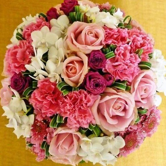 [送料無料]】 [お祝い花] [誕生日花]おしゃれラウンドアレンジ【HLS_DU】【RCP【楽ギフ_メッセ入力】