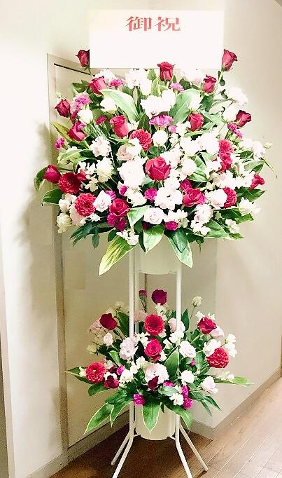 [お祝い 花][結婚祝 花][イベント 花]バラのお洒落スタンド花2段【HLS_DU】【楽ギフ_メッセ入力】