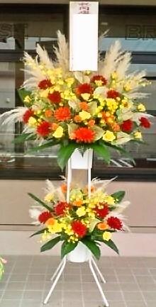 [開店祝 花][お祝い 花]にスタンド花2段【HLS_DU】【楽ギフ_メッセ入力】