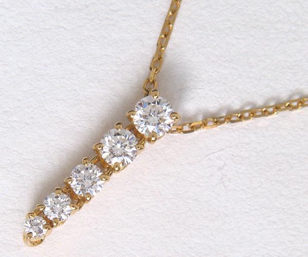 【中古】★じゅえりぃ ばんく★スッキリ シンプル 縦5つ グラデーション ! ミキモト K18 ダイヤモンド ネックレス ! シンプルだから ダイヤの違いがよく分かります 普段使 ギラギラ 厳選メレーは如何ですか!!