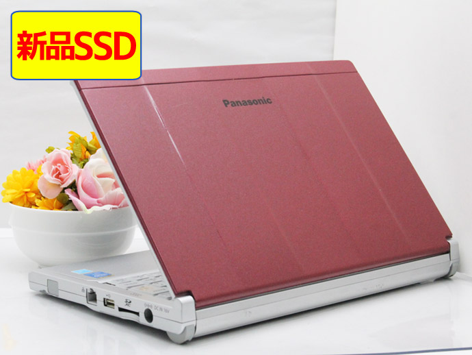 【中古】ノートパソコン Office付き Windows10 天板カスタマイズ Panasonic Let's note CF-SX3GDHCS Core i5 4300U 1.9GHz メモリ 4GB 新品SSD 256GB DVD-RW ワインレッド A1
