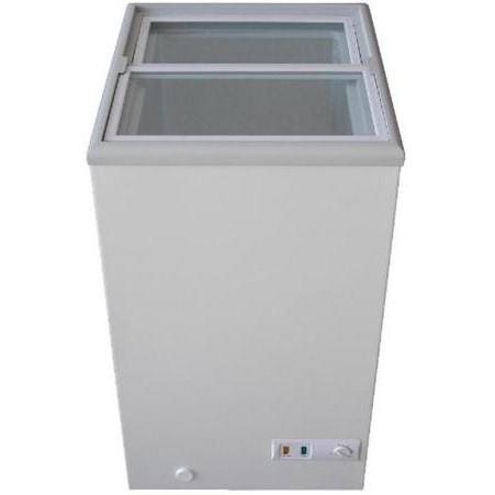 三ツ星貿易 62L ガラススライド式冷凍庫 MS-062G ホワイト【送料無料・代引き不可】