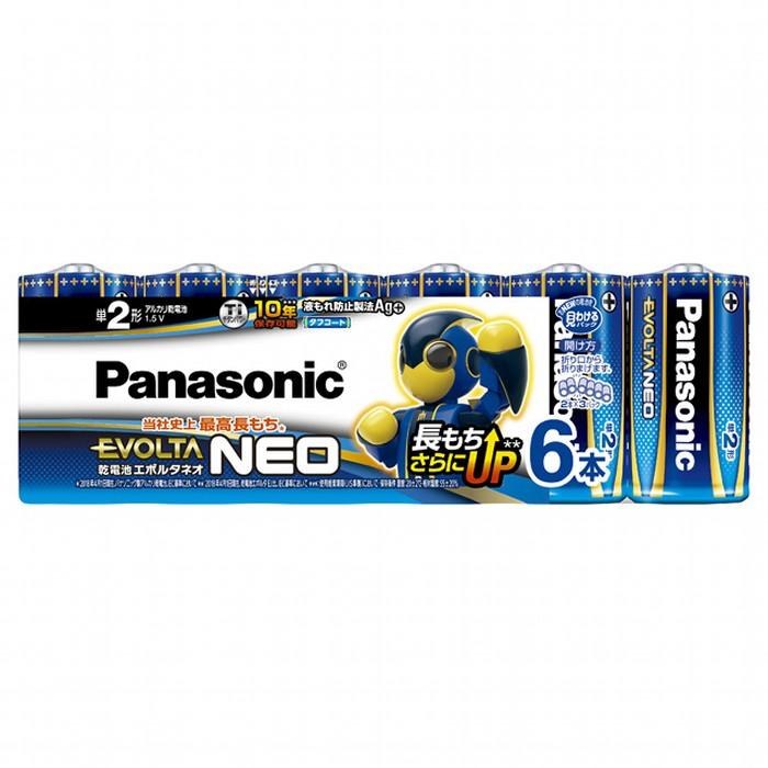 チタンパワーの採用で正極の反応効率がアップし、優れた保存性能を実現! パナソニック 乾電池エボルタネオ単2形6本パック LR14NJ/6SW Panasonic アルカリ【即納・送料無料】