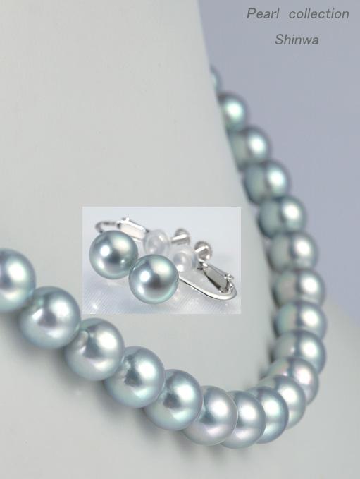 真珠ブルーグレーネックレス・イヤリングセット/8.0-8.5mm アコヤ真珠 パールネックレス