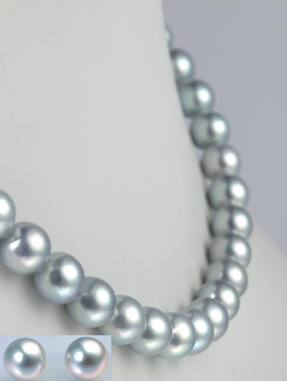 真珠ブルーグレーネックレスセット/8.5-9.0mm アコヤ真珠 パールネックレス