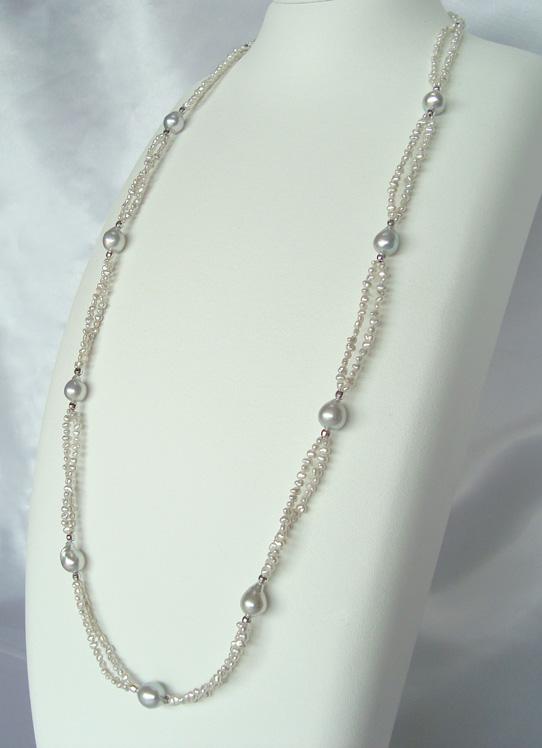 真珠ネックレス・あこやナチュラルケシ真珠ネックレス/SV 8.0-8.5mm/2-3mm程度【送料無料】【通販】【アコヤ真珠】