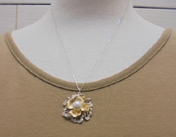 真珠ペンダント・お花モチーフあこや本真珠ネックレス ペンダント 7.0~7.5ミリ程度 【淡水真珠】【通販】