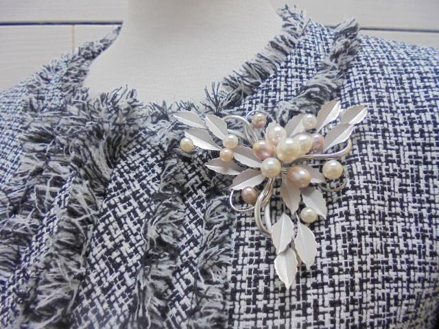 真珠ピンブローチ・淡水ドロップマルチ真珠ブローチ/SVmm/【通販】【アコヤ真珠】