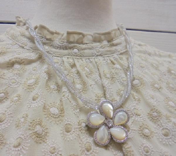 真珠2WAYシェルお花ピンブローチ・メッシュチェーンネックレス付き ペンダント【通販】【アコヤ真珠】
