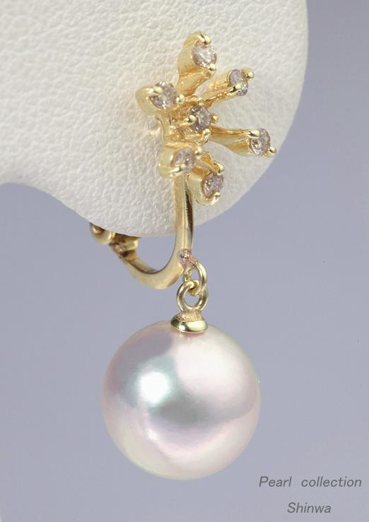 あこや本真珠イヤリング/K18 8.5-9.0mm D0.10ctx2【送料無料】【通販】【アコヤ真珠】