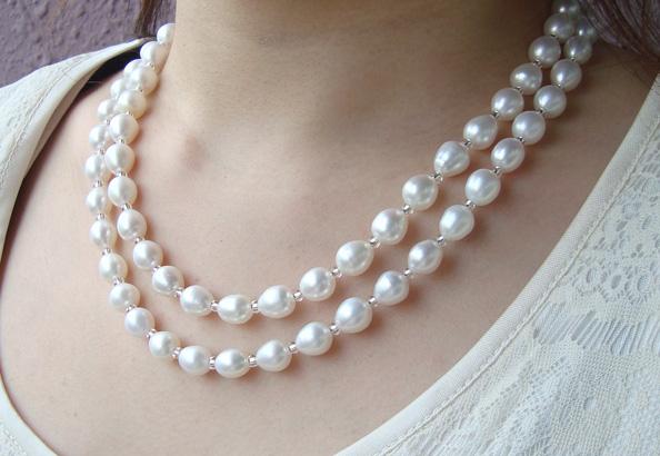 真珠ネックレス・淡水真珠ロングネックレス/SV 7.0-8.0ミリ程度 約90cm【淡水真珠】【通販】