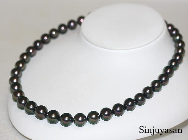 【オーロララグーン花珠鑑別】11.3~9.0mm 黒蝶真珠ネックレス