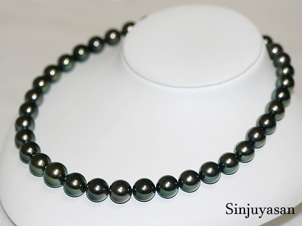 【オーロララグーン花珠鑑別】12.3~10.0mm 黒蝶真珠ネックレス