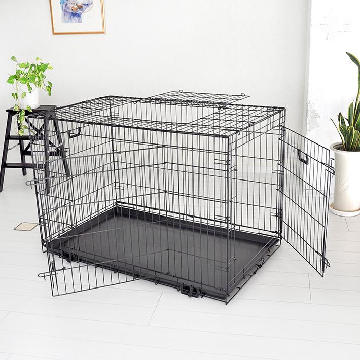 【おすすめ】スリードア 折りたたみ式 ペットケージ XXLサイズ 122×74.5×高さ82cm) ブラック トレイ付 スチール製 中型犬 大型犬 送料無料 プチリュバン