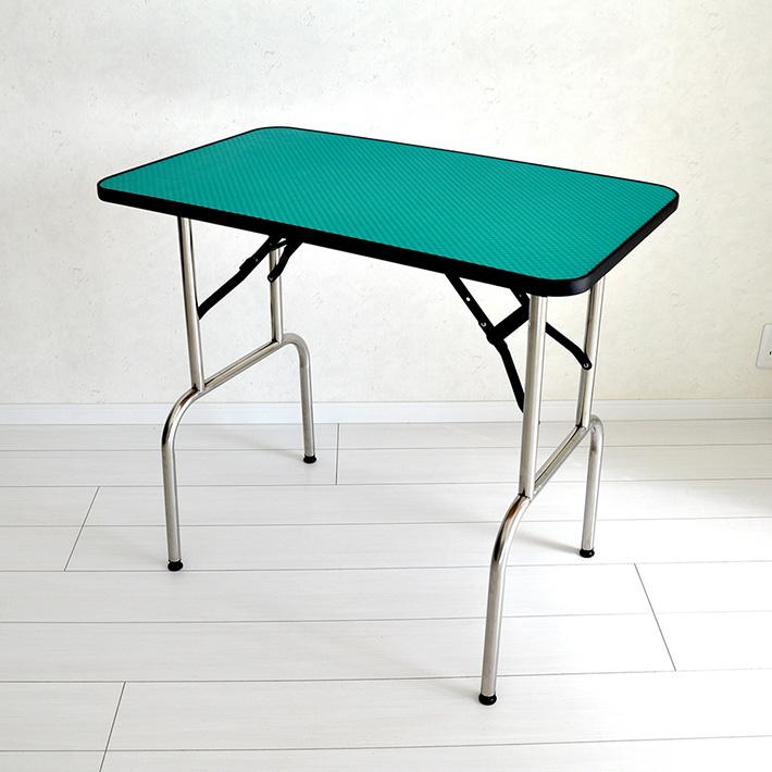 【全品ポイントアップ中】トリミングテーブル GS78L アーム無し アジャスター付 高さ78-81cm グリーン×ステンレス 台面86×51cm 送料無料 折畳機能 中型犬 大型犬
