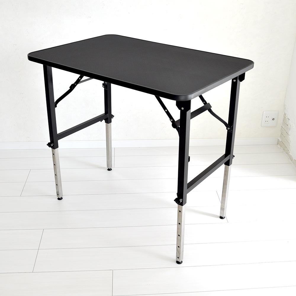 【おすすめ】トリミングテーブル 6段階調節式 アーム無し アジャスター付大型犬対応 Lサイズ PVCフレーム ステンレス 折畳機能 高さ約52~84cm 送料無料