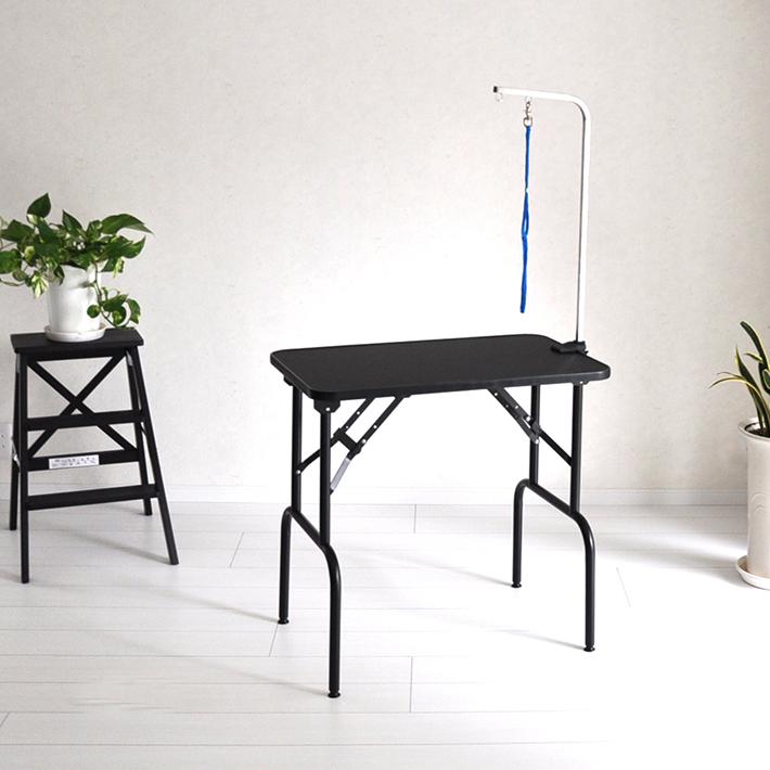 【おすすめ】 トリミングテーブル BB75-78 Mサイズ 高さ75~78cm 台面ブラック 足ブラック 台面サイズ75×46cm 折畳機能 送料無料