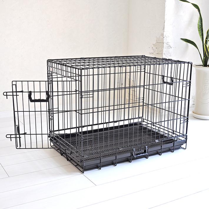 ペットケージ すのこ付き Lサイズ 76cm×47cm×高さ58cm ブラック 折りたたみ式 スチール製 ペットケージ ケイジ 小型犬 中型犬 送料無料 ペットに清潔な住まい プチリュバン