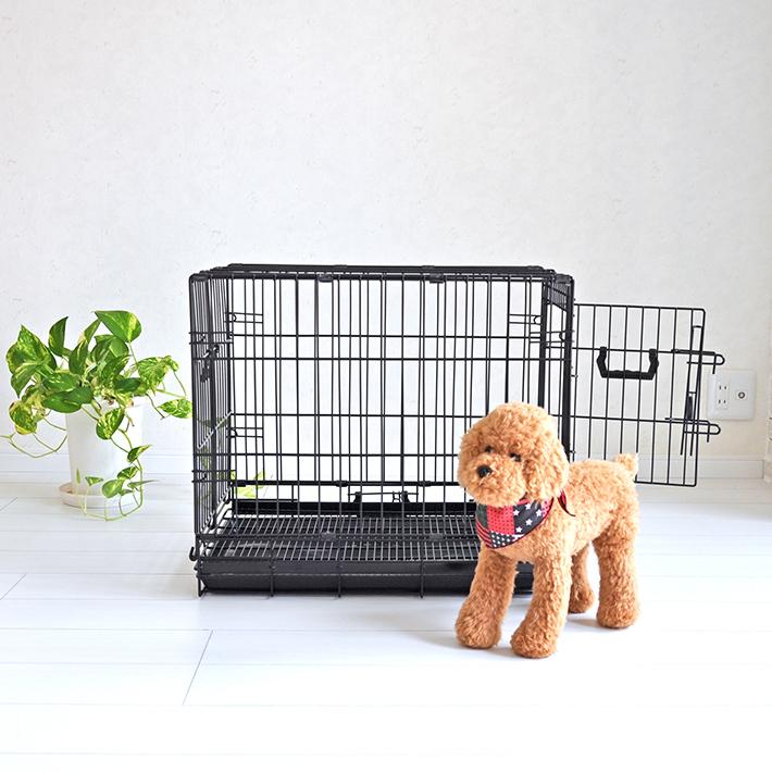 【おすすめ】ペットケージ すのこ付き Mサイズ 59.5cm×41.7cm×高さ52.5cm ブラック 折りたたみ式 スチール製 ペットケージ ケイジ 小型犬 中型犬 送料無料 ペットに清潔な住まい プチリュバン